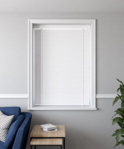 50mm Faux Wood Venetian Blind in a recess WHITE CLOSED scaled