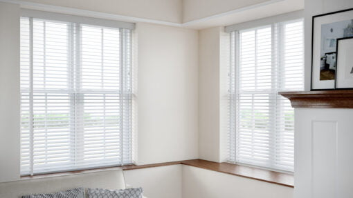 50mm Faux Wood Venetian Blind in a recess WHITE HERO SHOT scaled