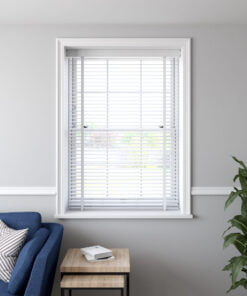 50mm Faux Wood Venetian Blind in a recess WHITE OPEN scaled