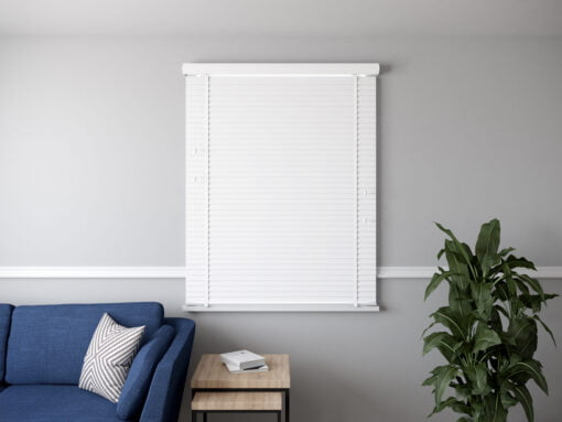 50mm Faux Wood Venetian blind with pelmet WHITE CLOSED scaled