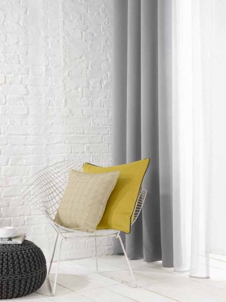 Grey Plain Flame Retardant Curtains