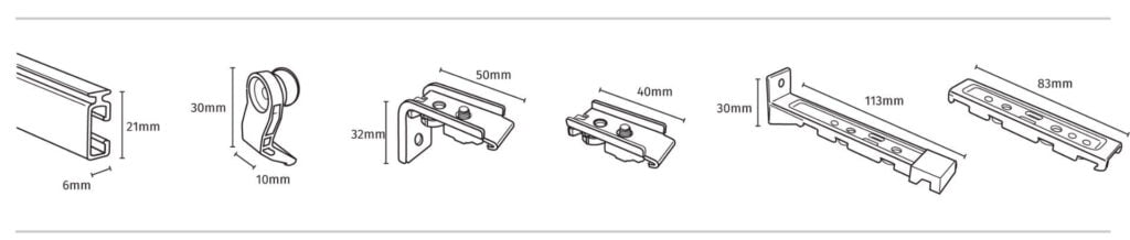 Components in Fineline Curtain Track
